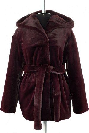 01-10231 Пальто женское демисезонное Искусственный мех Слива