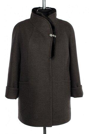 02-3030 Пальто женское утепленное Пальтовая ткань серый