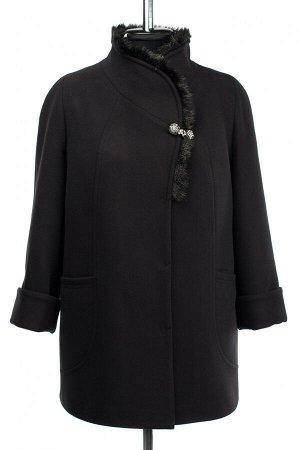 02-3028 Пальто женское утепленное Пальтовая ткань черный