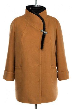 02-3029 Пальто женское утепленное Пальтовая ткань горчичный