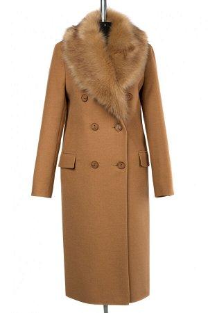 02-3017 Пальто женское утепленное Пальтовая ткань Кэмел