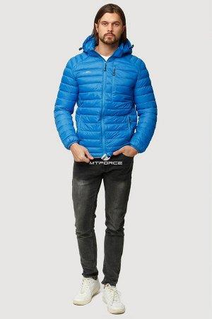 Мужская осенняя весенняя спортивная куртка ветровка softshell голубого цвета 1852G