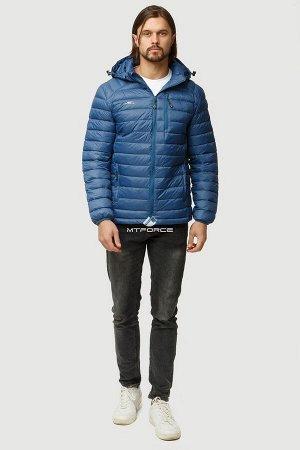 Мужская осенняя весенняя спортивная куртка стеганная синего цвета 1852S