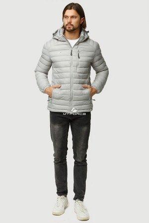 Мужская осенняя весенняя спортивная куртка стеганная светло-серого цвета 1852SS