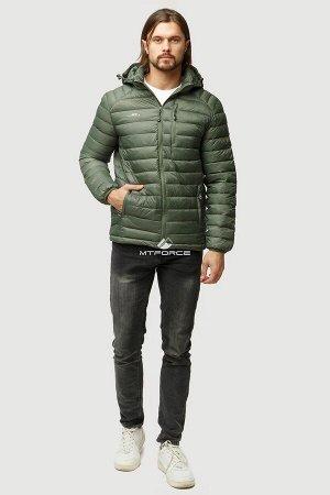 Мужская осенняя весенняя спортивная куртка стеганная цвета хаки 1852Kh