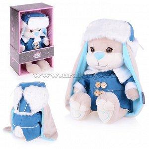 Зайчик Jack&Lin в синей дубленке и шапке-ушанке, 25 см, в коробке