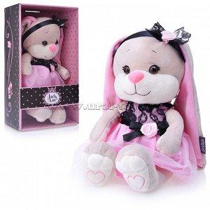 Зайка Jack&Lin в розовом платье с черными вставками, 25 см, в коробке