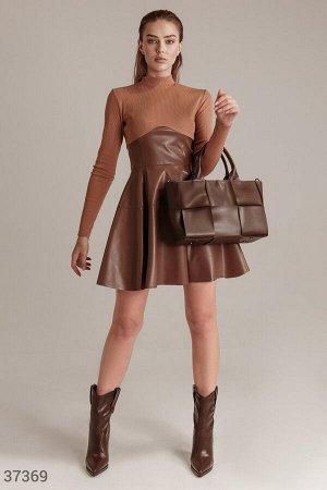 Комбинированное платье с кожаной юбкой