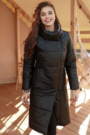 Черное стеганое пальто