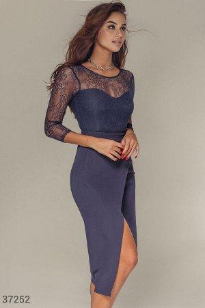 Кружевное синее платье