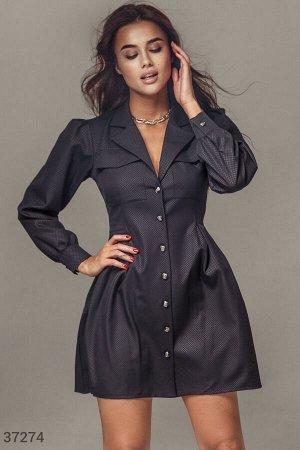 Строгое платье-рубашка черного цвета