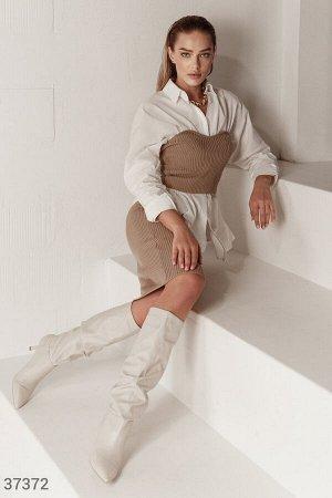 Бежевый костюм из трикотажа в рубчик