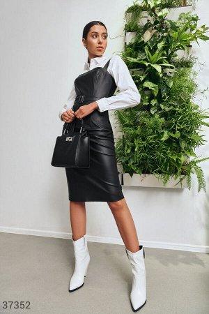 Черный кожаный сарафан