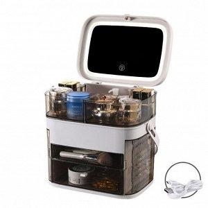 Органайзер для косметики с зеркалом и LED-подсветкой Х-8447 LED серый