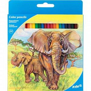 """Карандаши цветные """"Животные"""", 24 цвета K17-055-1"""