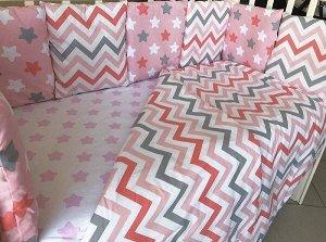 Комплект в кроватку Звездный 7 пр.розовый