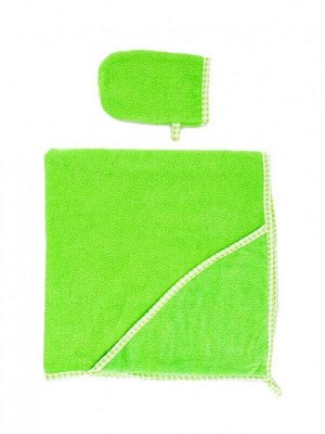Пеленка-полотенце для купания с варежкой зел.