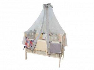 """Комплект в кроватку 16 предм. """"Степашка""""  (борт состоит из 10 подушек) бязь люкс, перкаль (Серый)"""