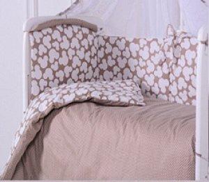 Комплект в кроватку КПБ Микки 3 пр. кофе
