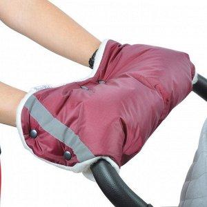 BAMBOLA Муфта для коляски шерстяной мех+плащевка+кнопки Бордо