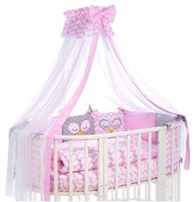 Бортик в кроватку Спящие совята розовые