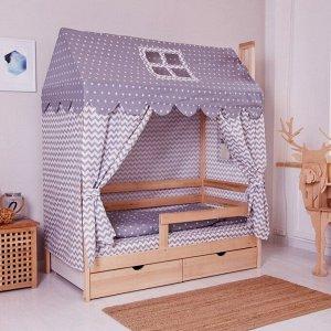 Комплект в кроватку Домик, 6-ти предм., цвет серый