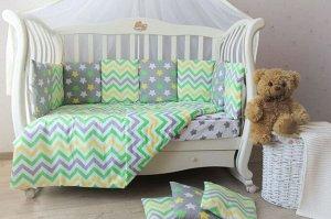 Бортик в кроватку Звездный зеленый