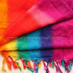 Парео Яркое парео из Таиланда расцветки «радуга» - самый необходимый атрибут для пляжного отдыха. Материал, из которого сделано тайское парео – это вискоза с хлопком, ткань тонкая, непрозрачная,  прия