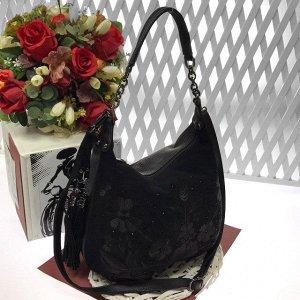 Эксклюзивная сумочка мешочек Cabaret из прочной качественной замши со стразами кофейного цвета.