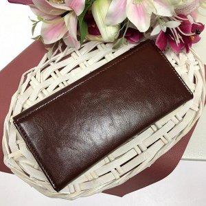 Женский кошелек Fartuna из глянцевой эко-кожи бордового цвета