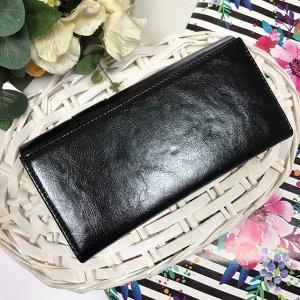 Женский кошелек Leksu из глянцевой эко-кожи чёрного цвета