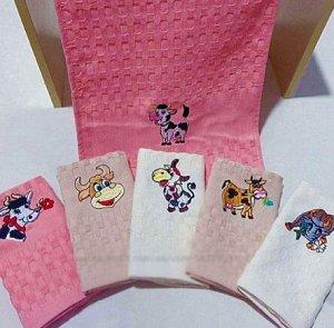 Подарочные полотенце вафельные, цвет в ассортименте