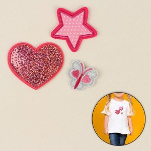 Набор термоаппликаций «Звезда, бабочка, сердце», 3 шт