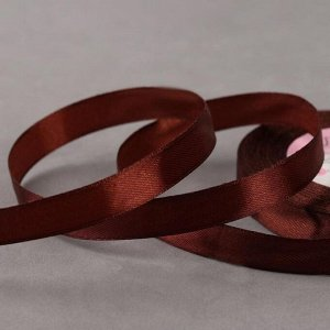 Лента атласная, 12 мм ? 23 ± 1 м, цвет коричневый №74