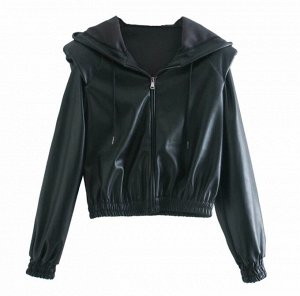 Короткая куртка с капюшоном, черный
