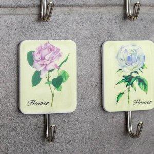 Набор крючков на липучке «Галерея», 9 шт, розы