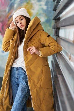 Пальто женское зимнее горчица