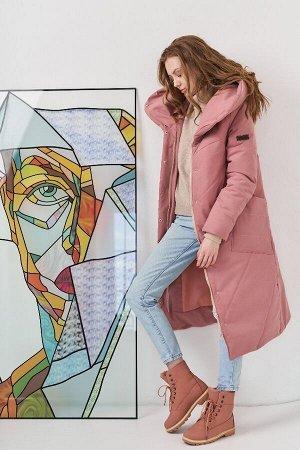 Пальто женское зимнее серо-розовый
