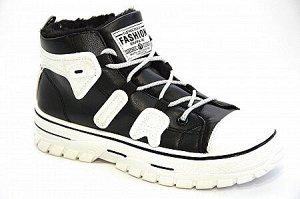 Кроссовки на меху Н617-1 черн/бел