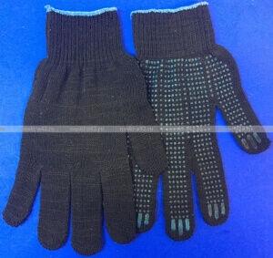 Перчатки рабочие хб с ПВХ - 10 класс, 5-х нитка СТАНДАРТ ЧЕРНЫЕ