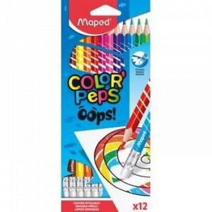 Карандаши пластиковые 12цв трехгранные, стираемые с ластиком COLOR'PEPS OOPS 832812 Maped {Китай}