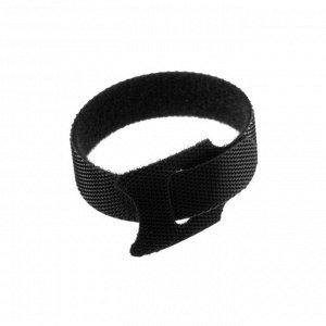 Лента-липучка для стяжки проводов, набор 10 шт, 15*1,2 см, черная