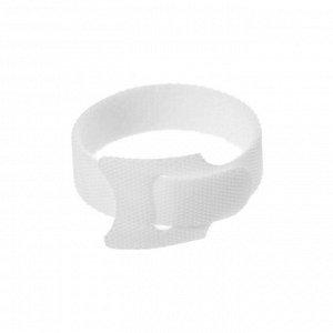 Лента-липучка для стяжки проводов, набор 10 шт, 15*1,2 см, белая