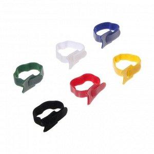 Лента-липучка для стяжки проводов, набор 12 шт, 15*1,2 см, МИКС