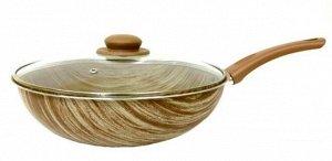 Сковорода ВОК 28 см со стеклянной крышкой