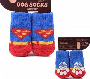 """Носочки для животных, со стопперами, принт """"Супермэн"""", цвет синий/красный"""