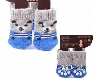 """Носочки для животных, со стопперами, принт """"Медведь"""", цвет серый/синий"""