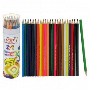 Карандаши 24 цвета в тубусе, шестигранные