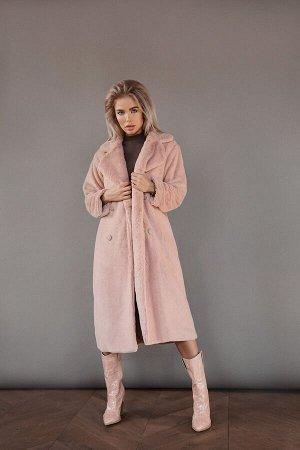 Двубортное пальто из экомеха