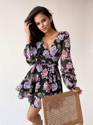 Платье из шифона с широким поясом и рюшами на рукавах